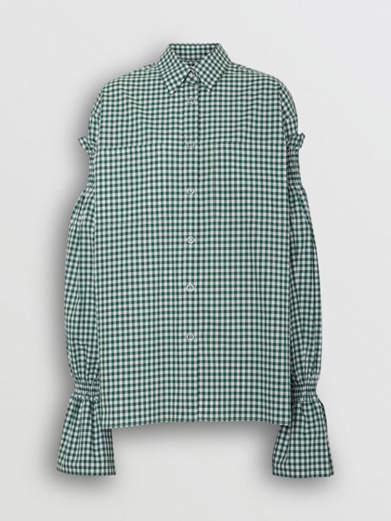 Gathered Sleeve Gingham Cotton Shirt in White/green