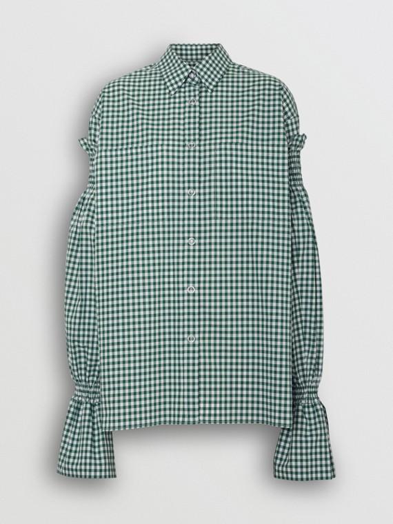 Camicia in cotone con motivo vichy e maniche riprese (Bianco/verde)
