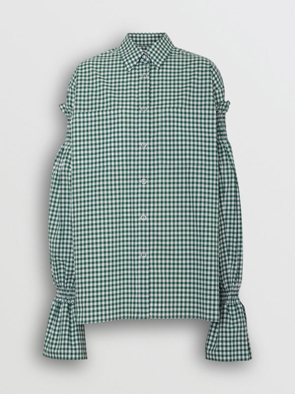 Gathered Sleeve Gingham Cotton Shirt in White/green - Women | Burberry - cell image 3