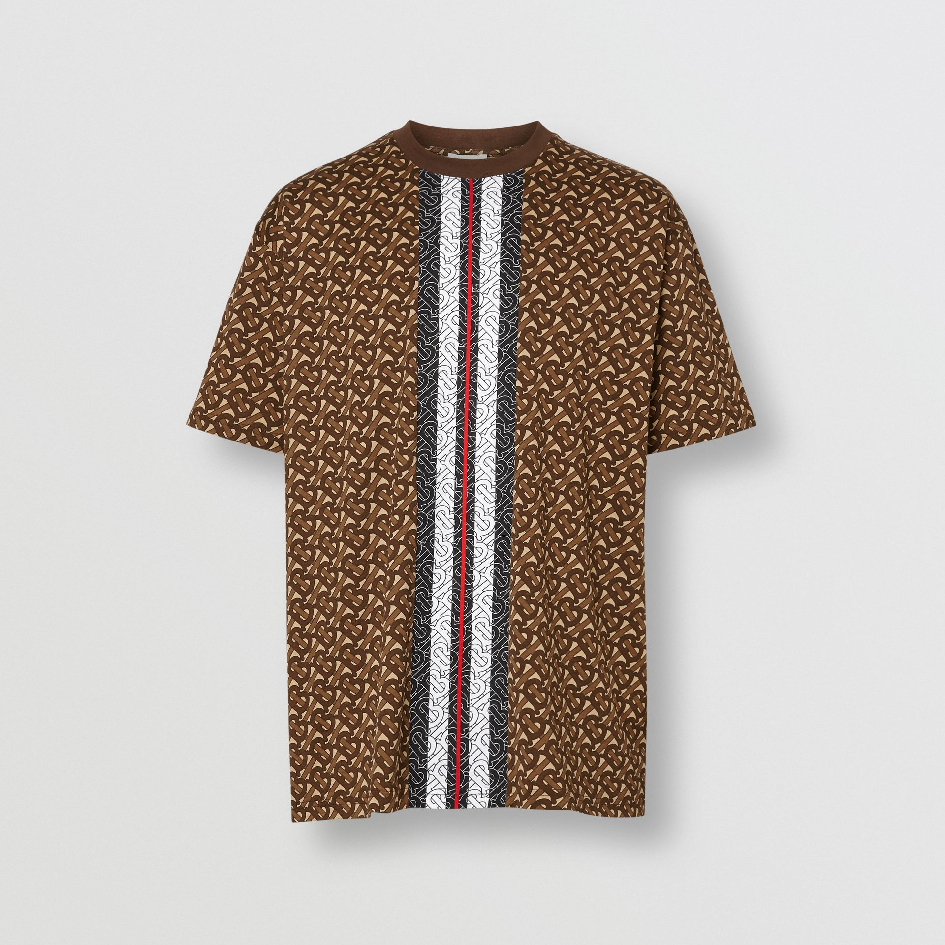 Monogram Stripe Print Cotton T-shirt in Bridle Brown - Men | Burberry - gallery image 3