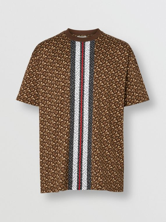Monogram Stripe Print Cotton T-shirt in Bridle Brown