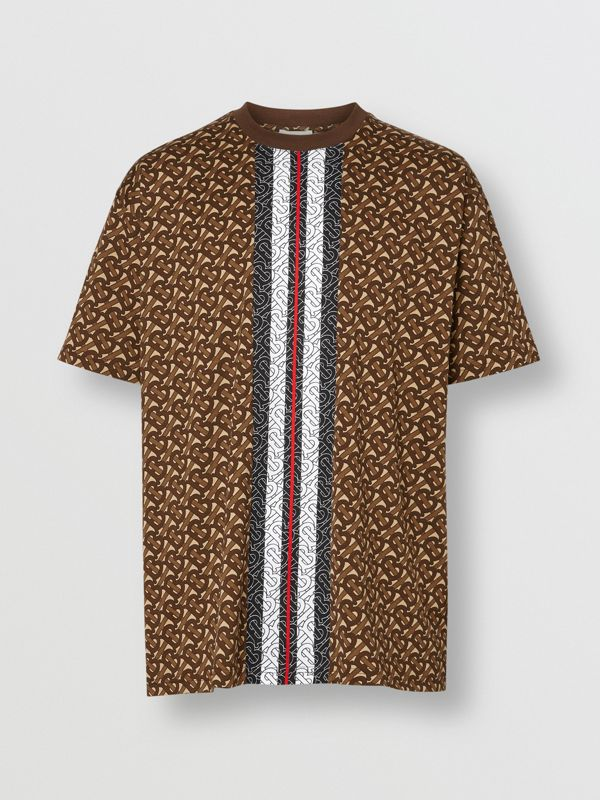 Monogram Stripe Print Cotton T-shirt in Bridle Brown - Men | Burberry - cell image 3