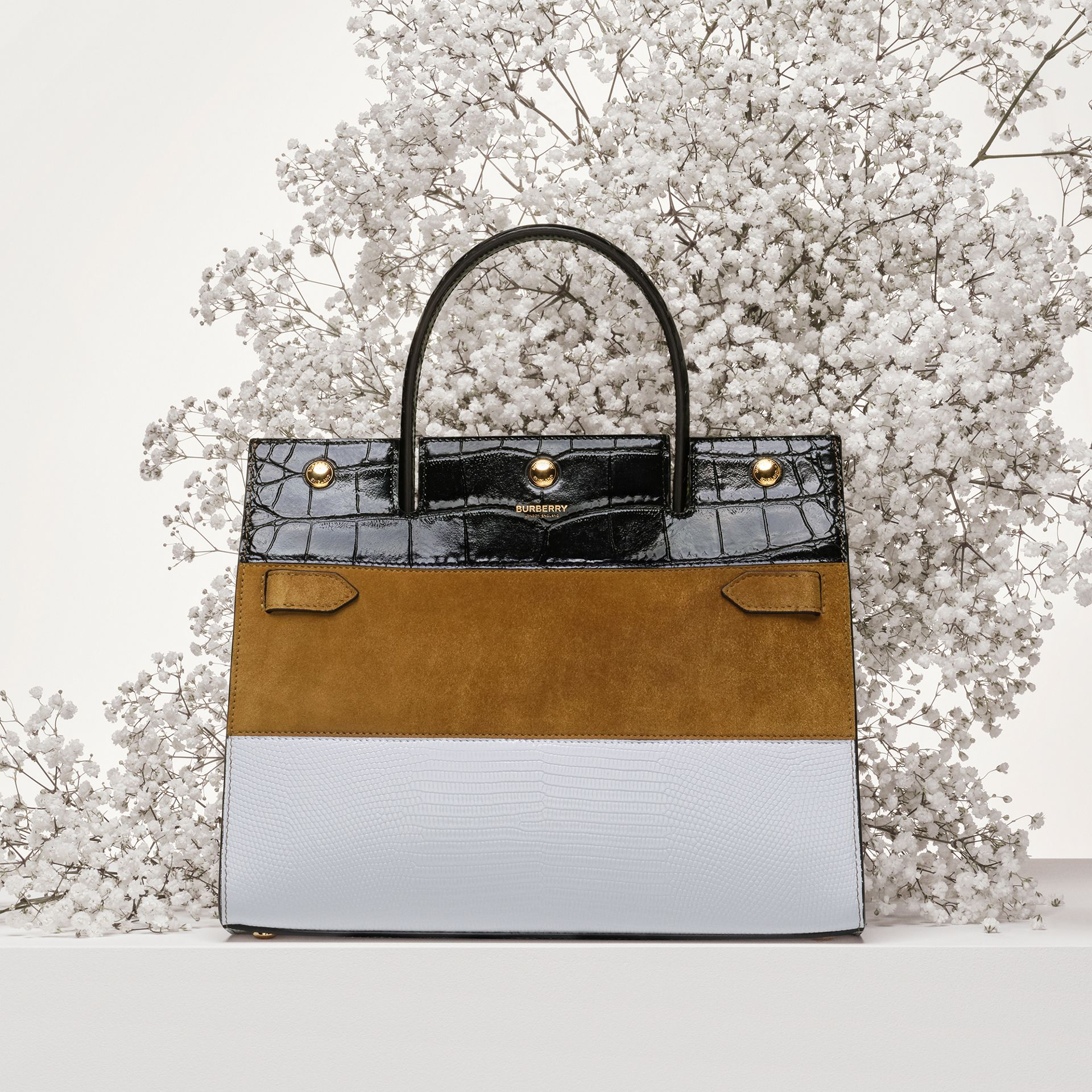 Small Panelled Leather, Suede and Deerskin Title Bag in White/maple - Women | Burberry - gallery image 1