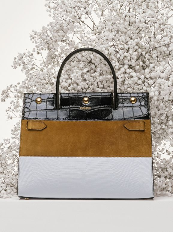 Small Panelled Leather, Suede and Deerskin Title Bag in White/maple - Women | Burberry - cell image 1
