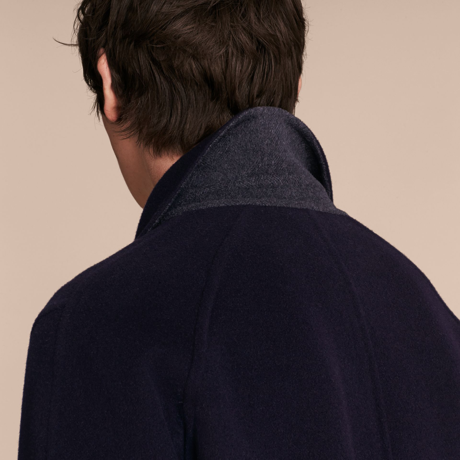 Navy Double-faced Wool Car Coat - gallery image 6
