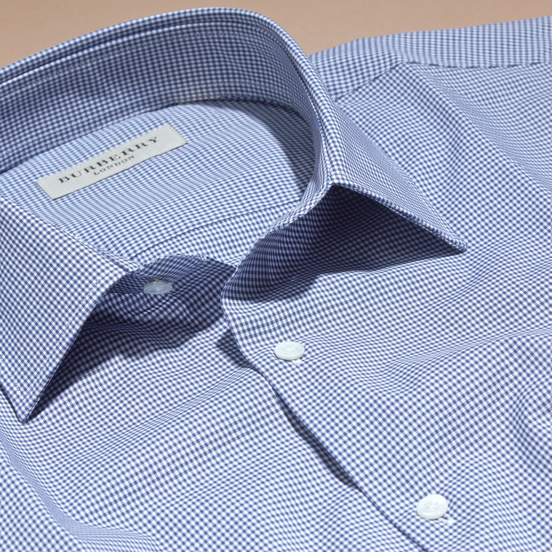 Slim Fit Gingham Cotton Poplin Shirt in Dark Empire Blue - Men | Burberry - gallery image 2