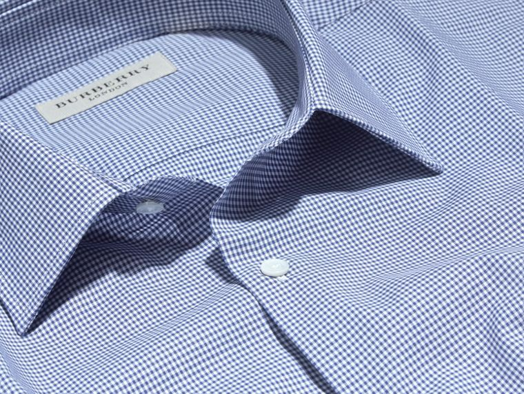 Slim Fit Gingham Cotton Poplin Shirt in Dark Empire Blue - cell image 1