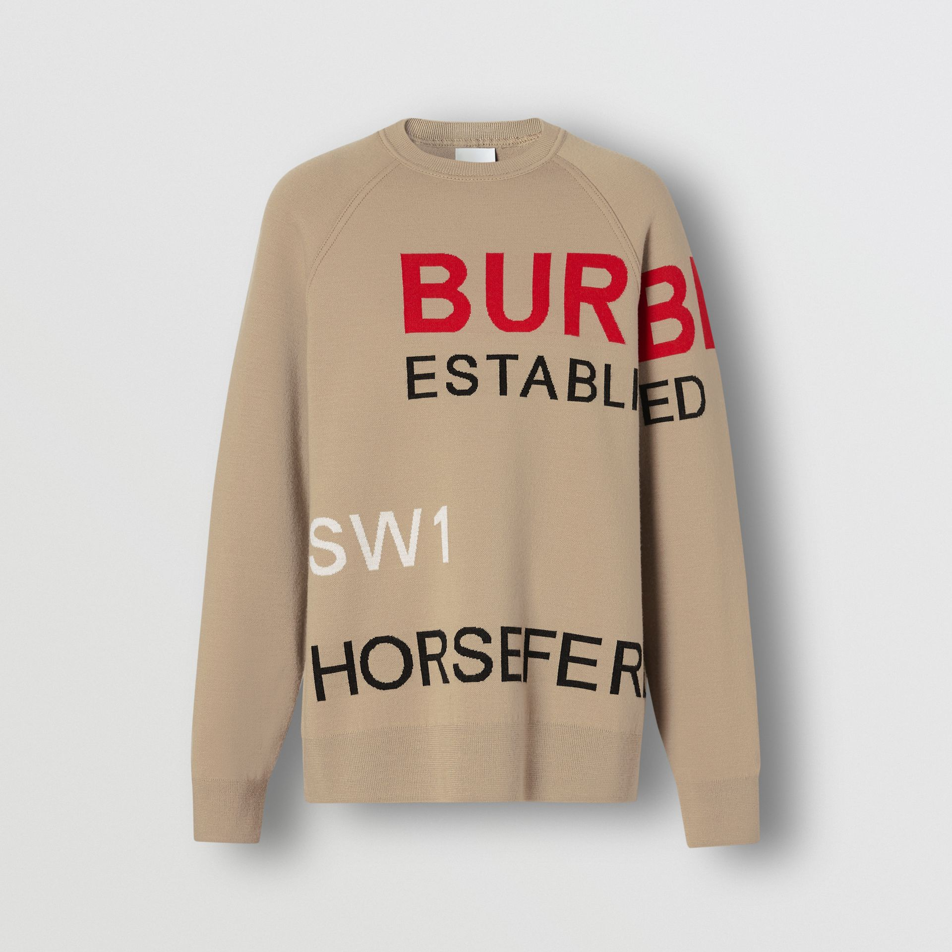 Horseferry Intarsia Merino Wool Blend Sweater in Beige - Women | Burberry United Kingdom - gallery image 3