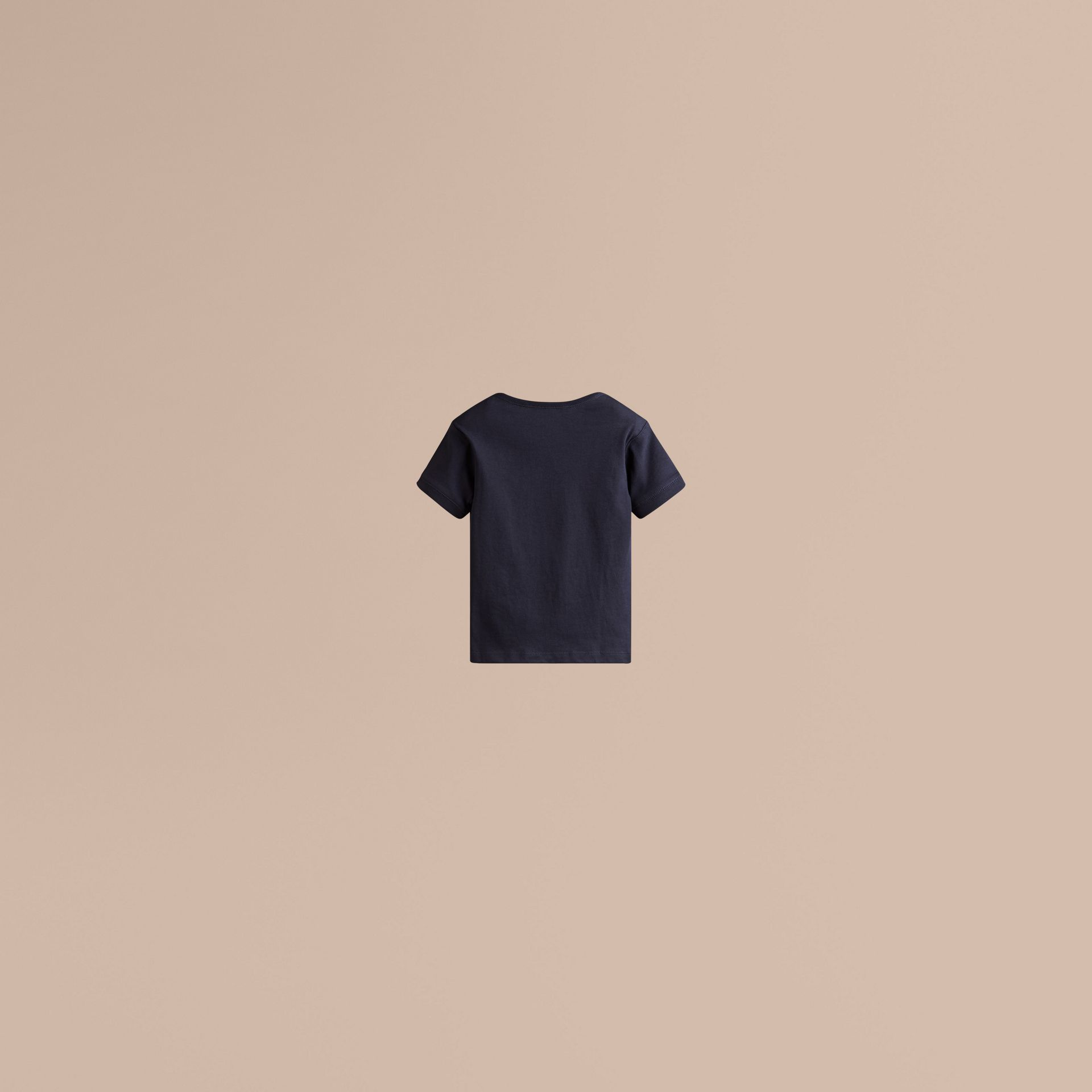 Check Pocket T-Shirt in True Navy - Boy | Burberry - gallery image 2