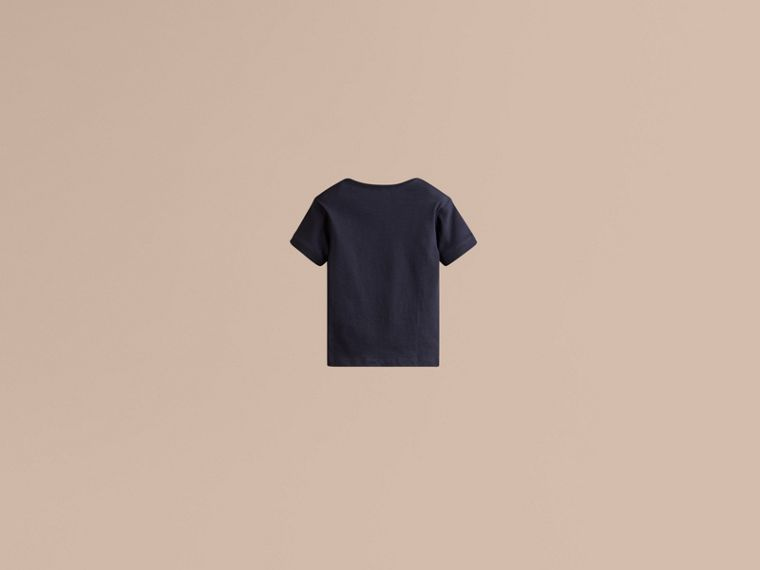 Check Pocket T-Shirt in True Navy - Boy | Burberry - cell image 1