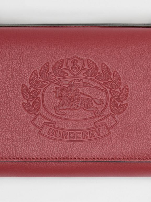Embossed Crest Leather Wallet with Detachable Strap in Crimson - Women | Burberry Australia - cell image 1
