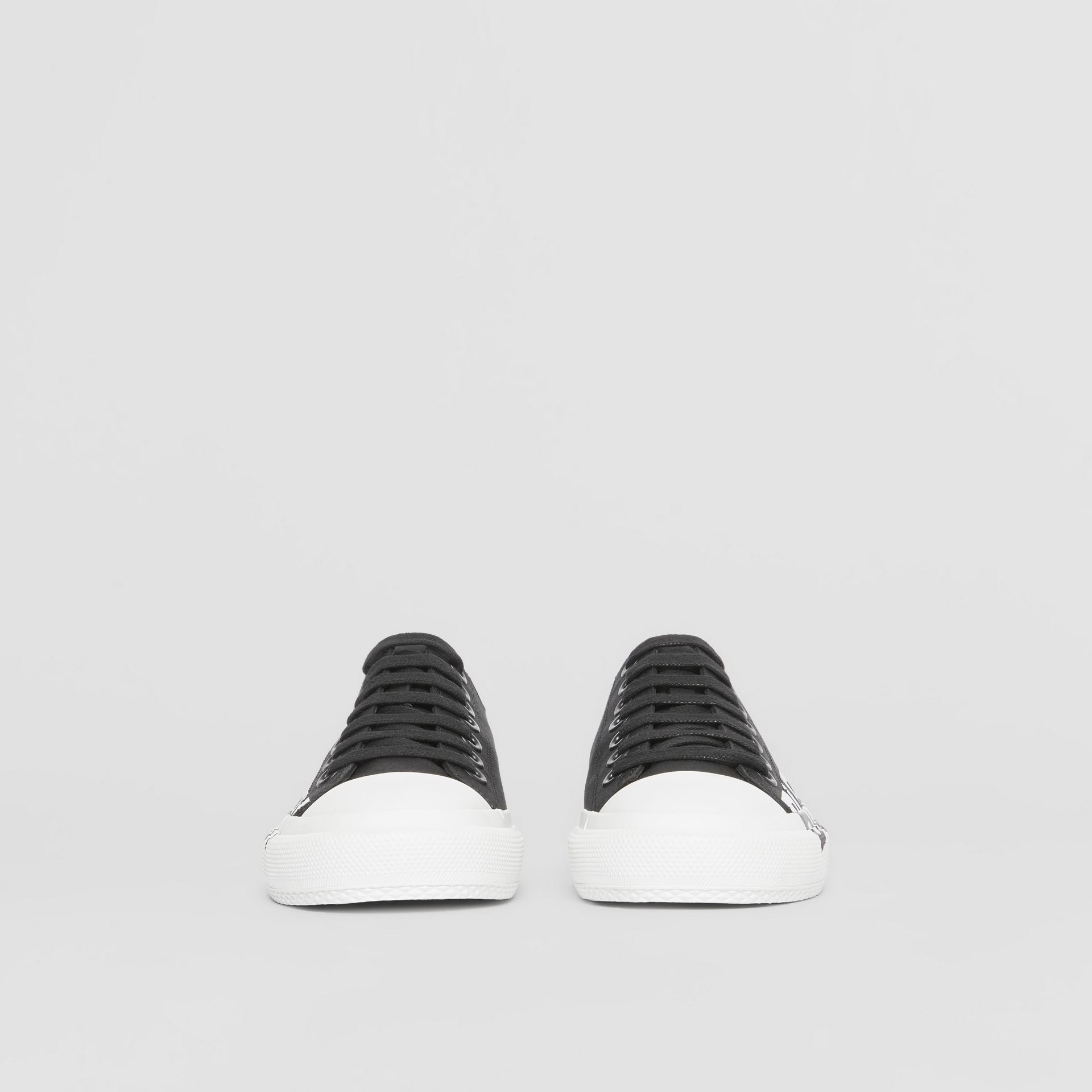 Logo Print Two-tone Cotton Gabardine Sneakers in Black/white - Women | Burberry Canada - gallery image 3