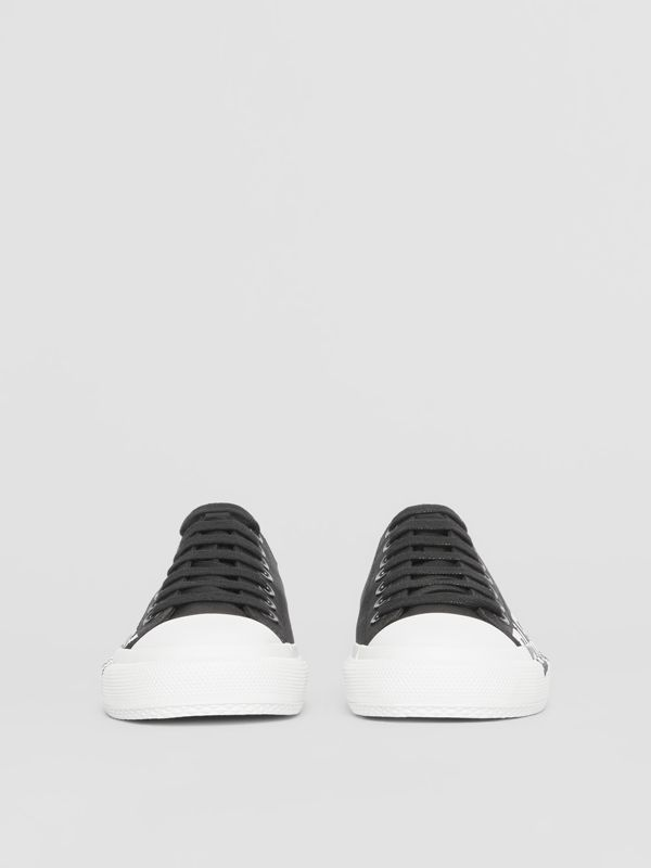 Logo Print Two-tone Cotton Gabardine Sneakers in Black/white - Women | Burberry - cell image 3