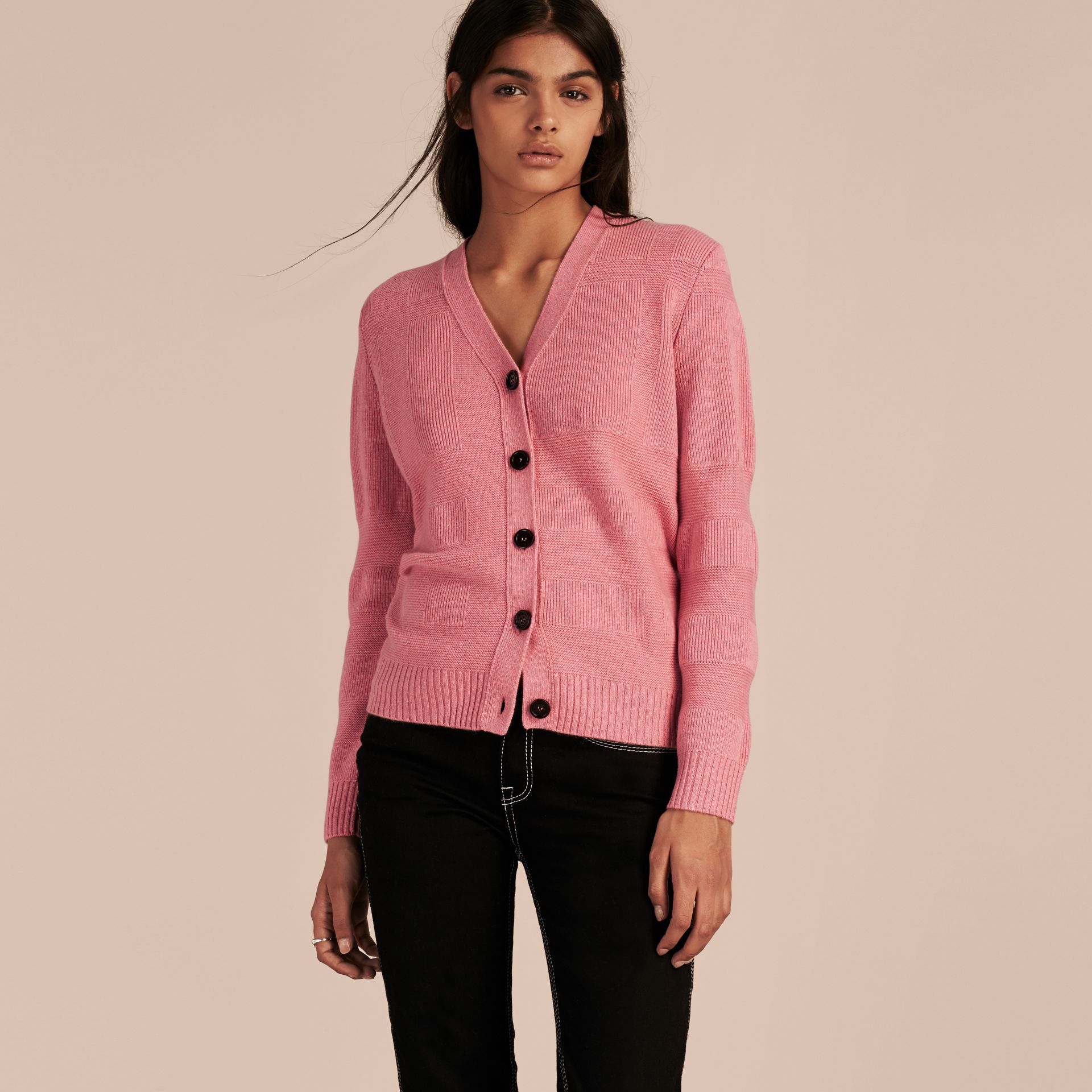 Check-knit Wool Cashmere Cardigan in Hydrangea Pink Melange - gallery image 6
