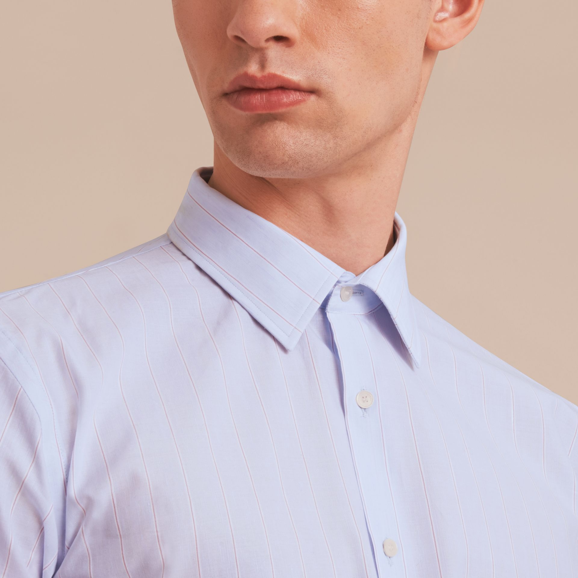 Modern Fit Cotton Linen Striped Shirt in Light Blue - Men | Burberry - gallery image 5