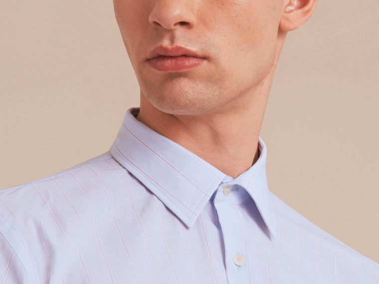 Modern Fit Cotton Linen Striped Shirt in Light Blue - Men | Burberry - cell image 4