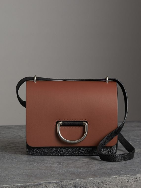 The Small Leather D-ring Bag in Tan/black