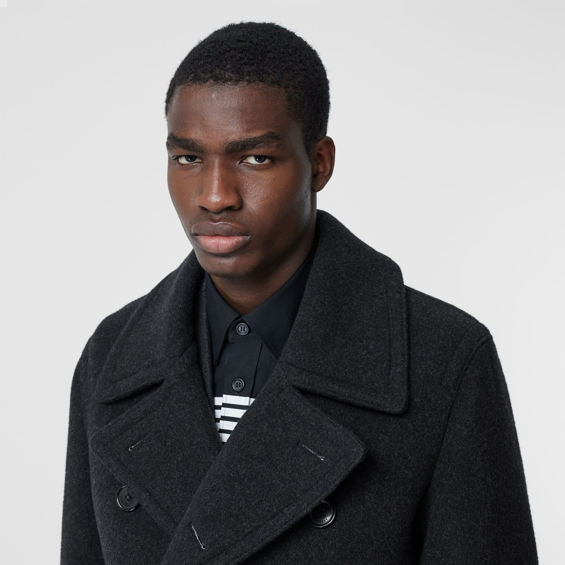 Striped Cuff Wool Pea Coat in Black - Men | Burberry - gallery image 1