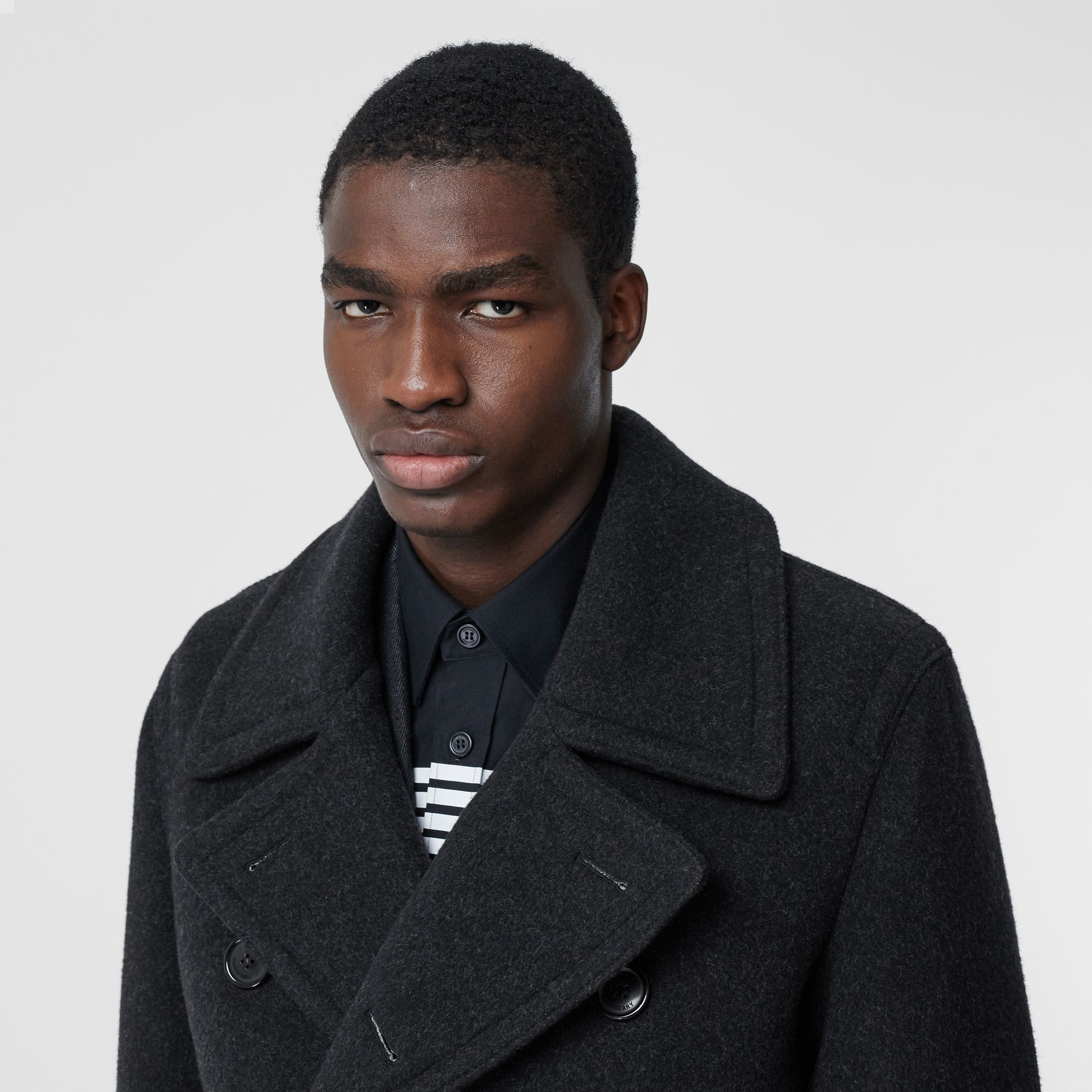 Striped Cuff Wool Pea Coat in Black - Men | Burberry - 2