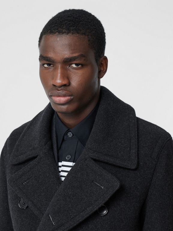 Striped Cuff Wool Pea Coat in Black - Men | Burberry - cell image 1