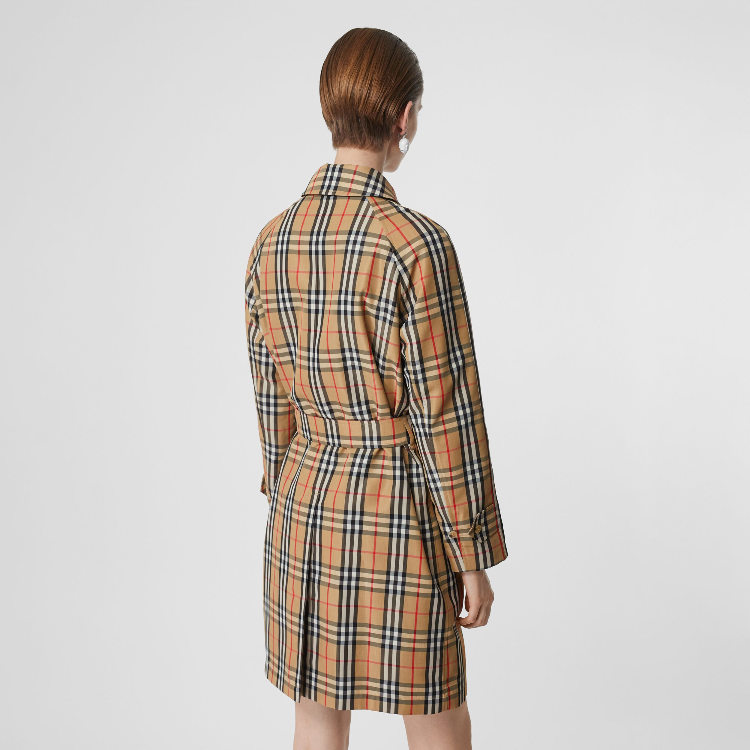 Vintage Check Nylon Belted Car Coat in Archive Beige - Women | Burberry - 3