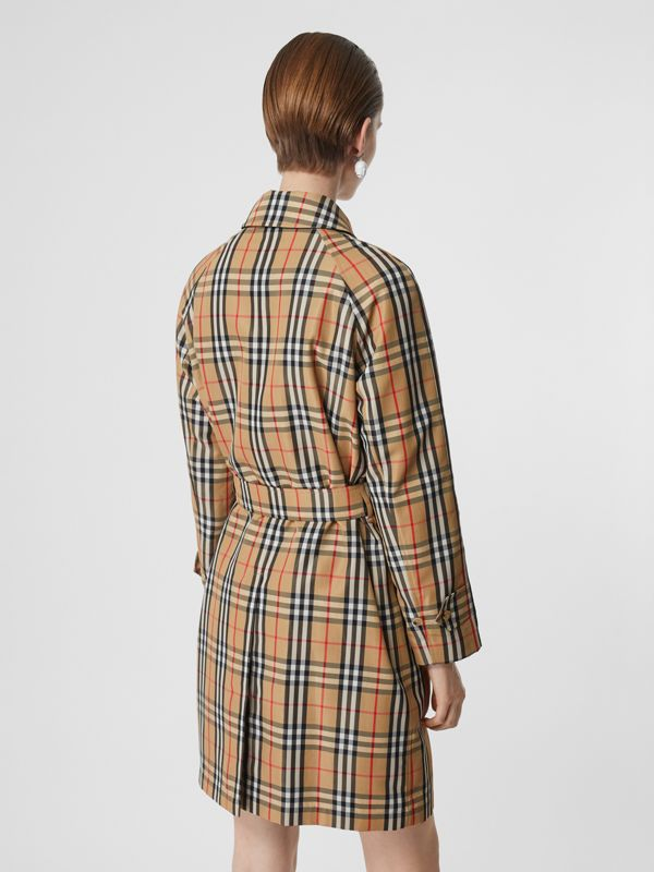 Vintage Check Nylon Belted Car Coat in Archive Beige - Women | Burberry United States - cell image 2