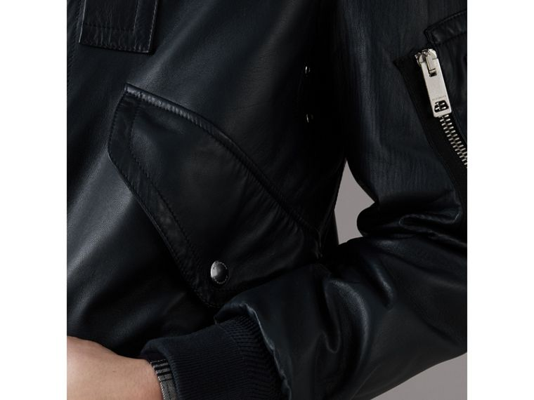 Lambskin Bomber Jacket in Navy - Men | Burberry United Kingdom - cell image 4
