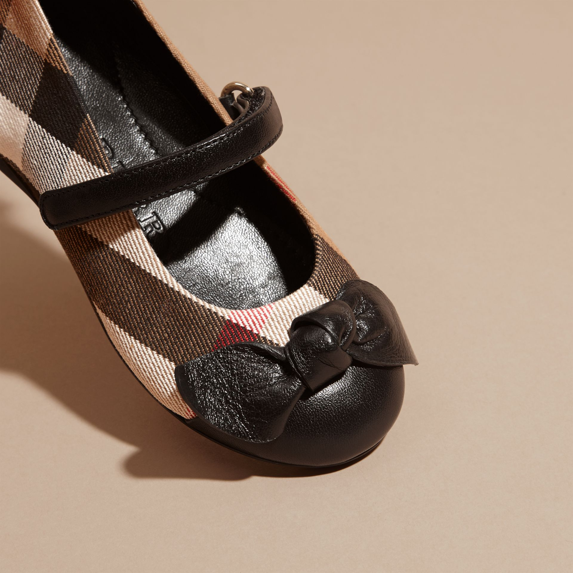 Leather and House Check Ballerinas in Black | Burberry - gallery image 2