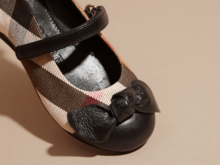 Leather and House Check Ballerinas in Black | Burberry - cell image 1