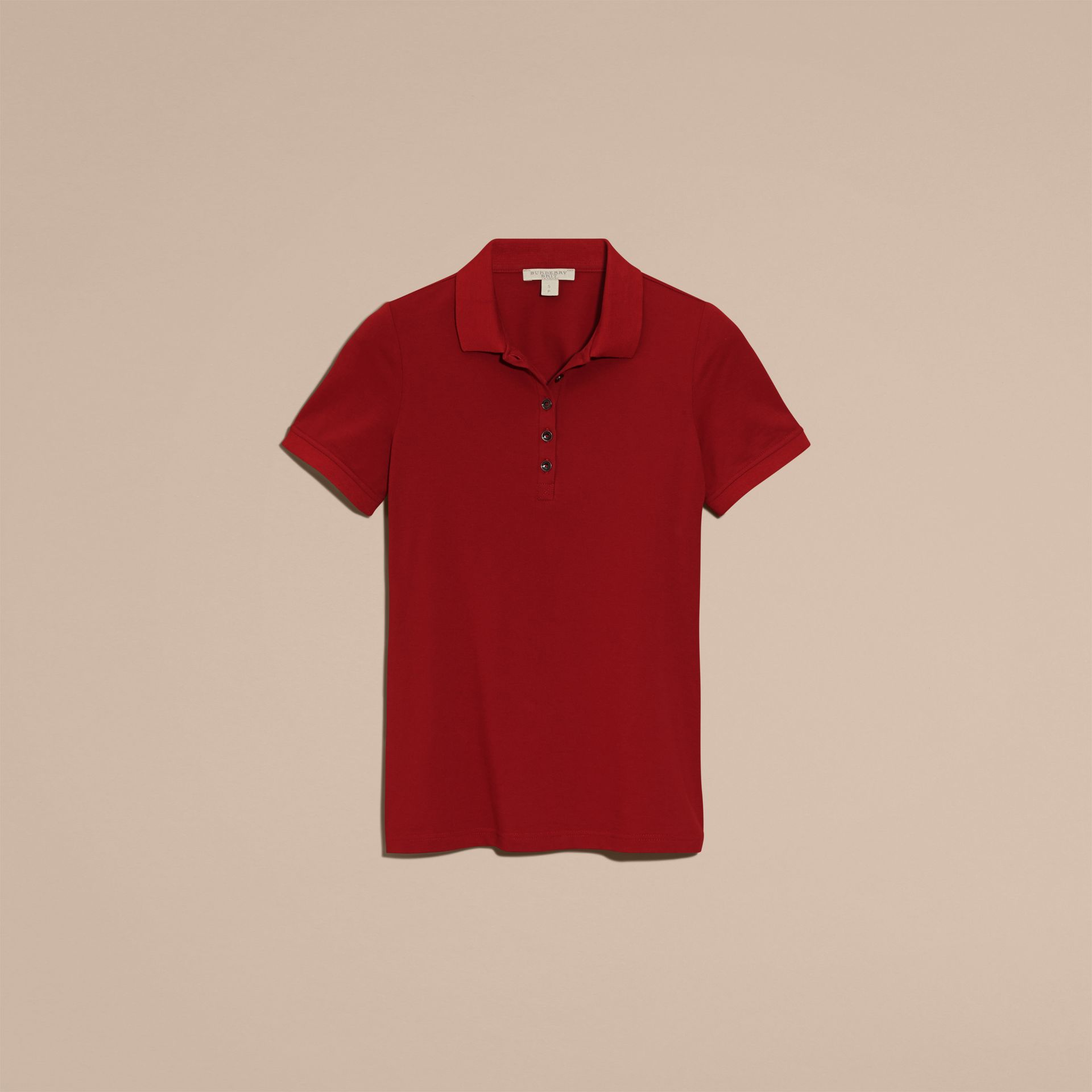 Check Trim Stretch Cotton Piqué Polo Shirt in Military Red - Women | Burberry Canada - gallery image 4