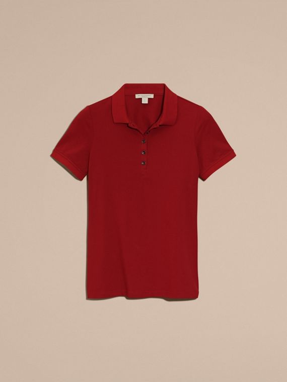 Check Trim Stretch Cotton Piqué Polo Shirt in Military Red - Women | Burberry Canada - cell image 3