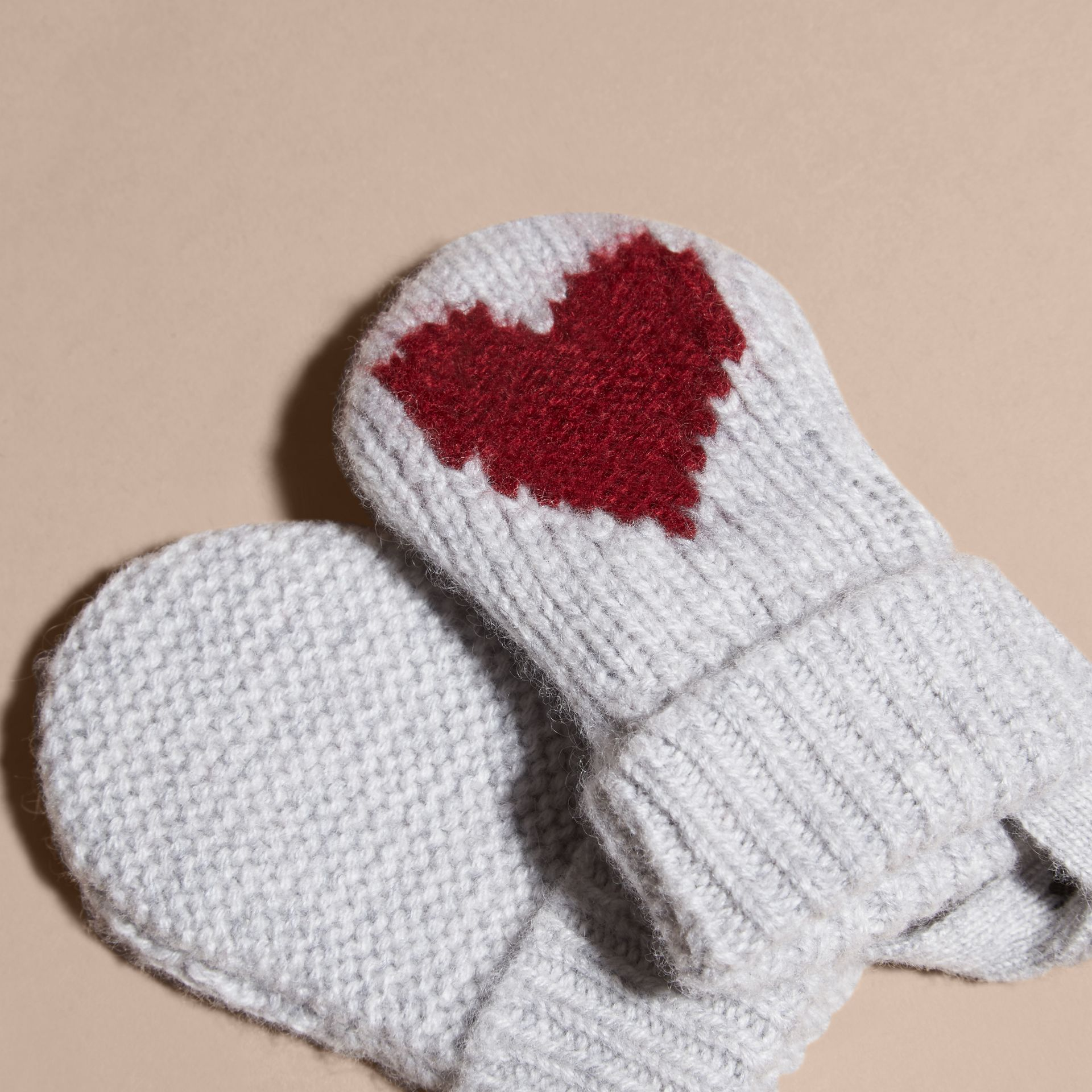 Heart Intarsia Cashmere Mittens - gallery image 3