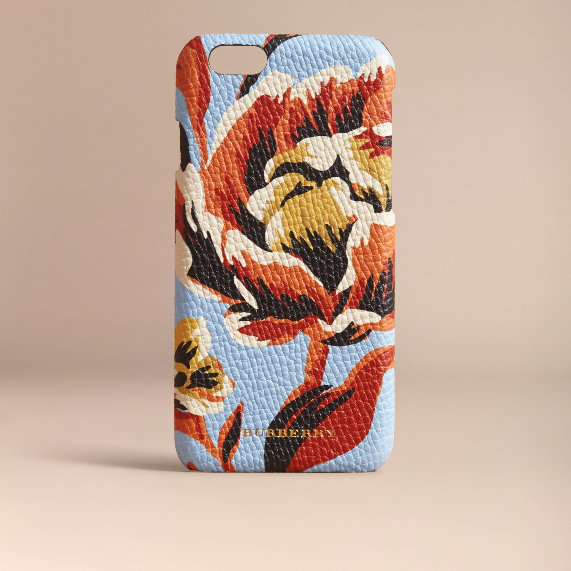 Peony Rose Print Leather iPhone 6 Case in Pale Blue/vibrant Orange | Burberry - gallery image 5