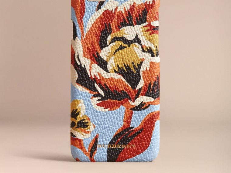 Peony Rose Print Leather iPhone 6 Case in Pale Blue/vibrant Orange | Burberry - cell image 4