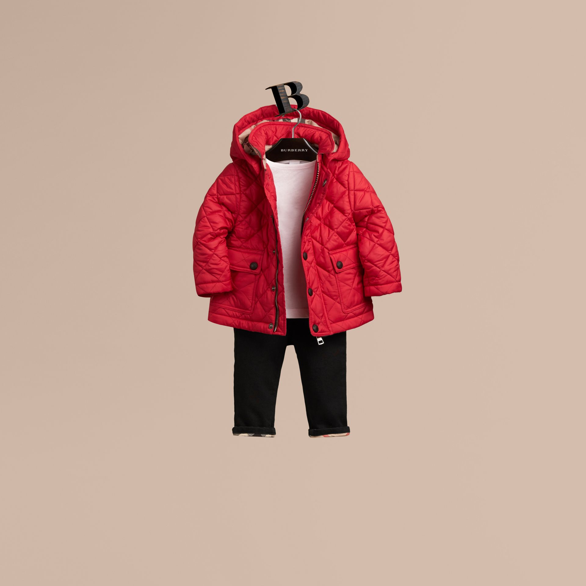 Bright cherry red Check Detail Diamond-quilted Jacket Bright Cherry Red - gallery image 1