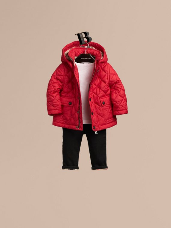 Check Detail Diamond-quilted Jacket Bright Cherry Red