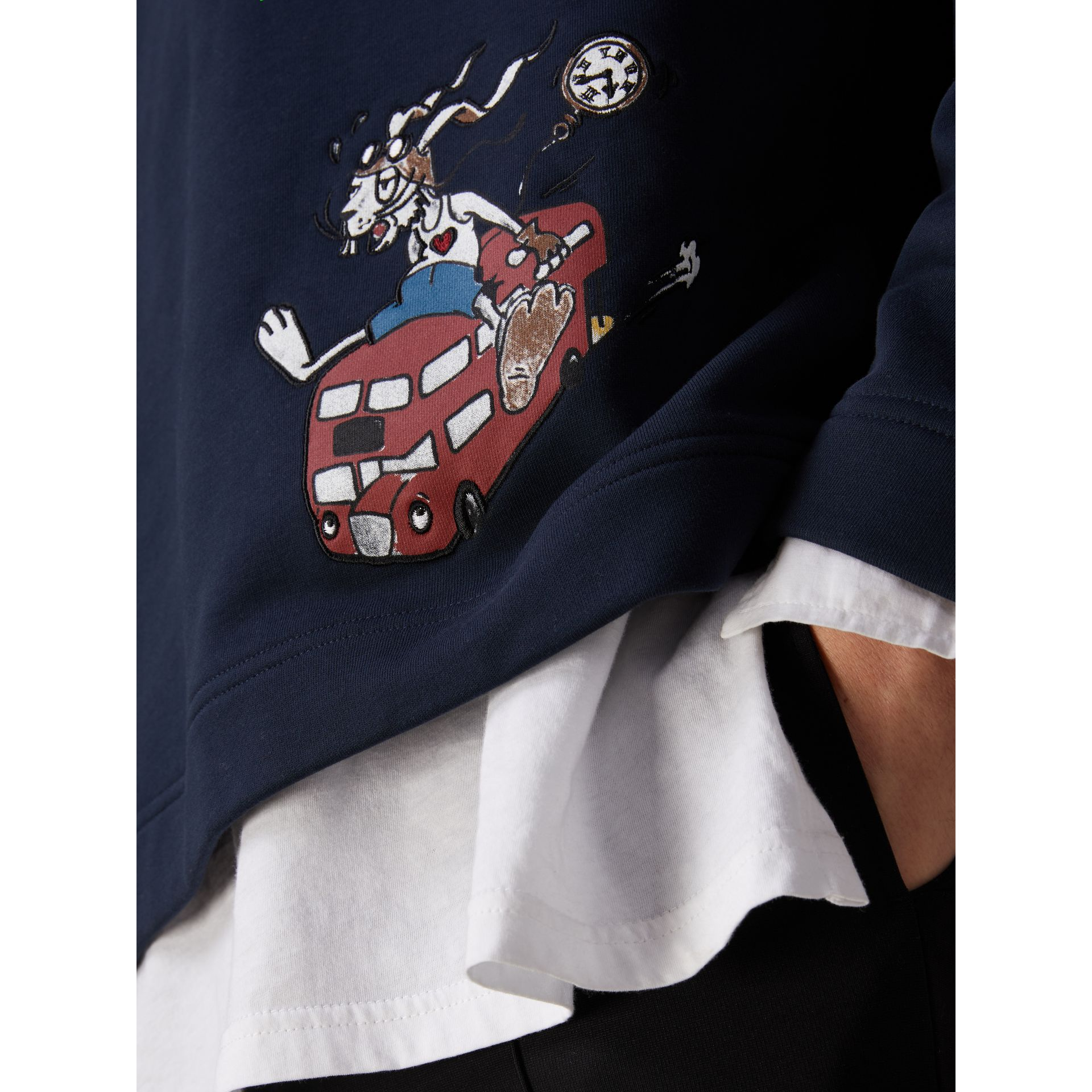 Sketch Print Cotton Jersey Sweatshirt in Navy - Men | Burberry - gallery image 2