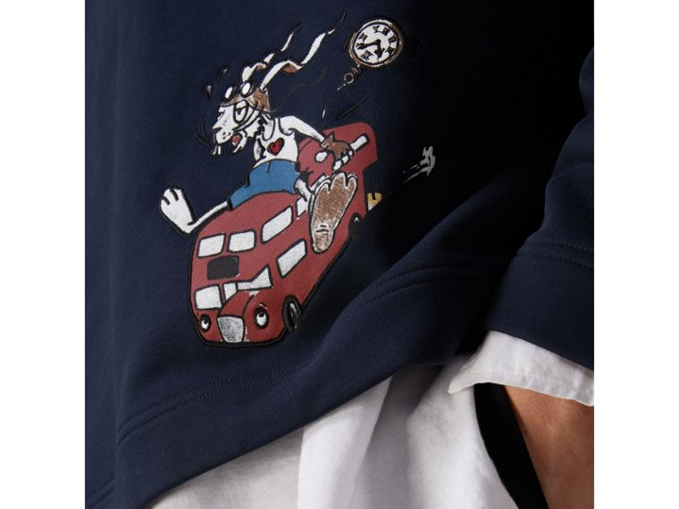 Sketch Print Cotton Jersey Sweatshirt in Navy - Men | Burberry Australia - cell image 1
