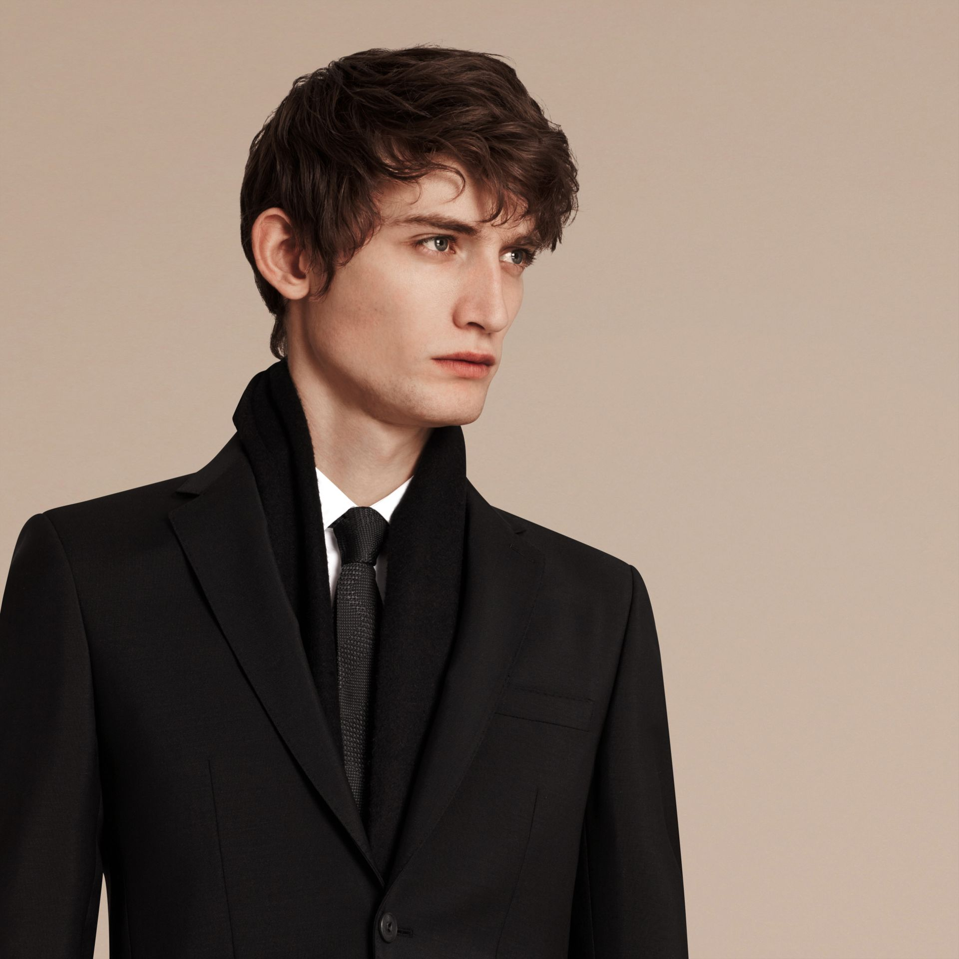 Slim Fit Wool Mohair Part-canvas Suit in Black - Men | Burberry Singapore - gallery image 5
