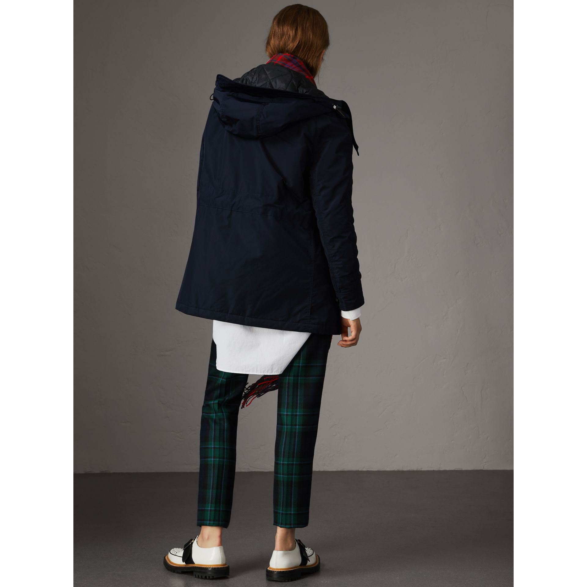 Technical Taffeta Hooded Parka in Navy - Women | Burberry Australia - gallery image 3