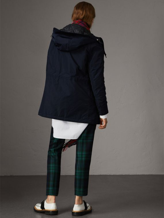 Technical Taffeta Hooded Parka in Navy - Women | Burberry - cell image 2