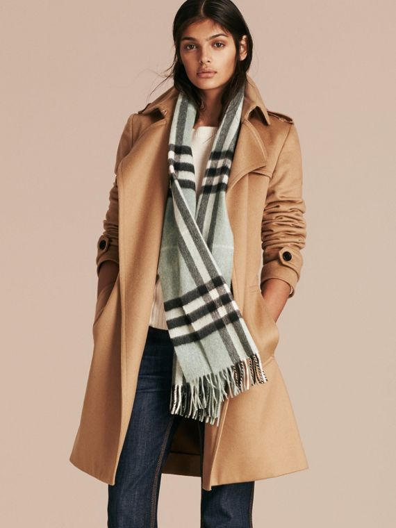 The Classic Cashmere Scarf in Check in Dusty Mint - cell image 2