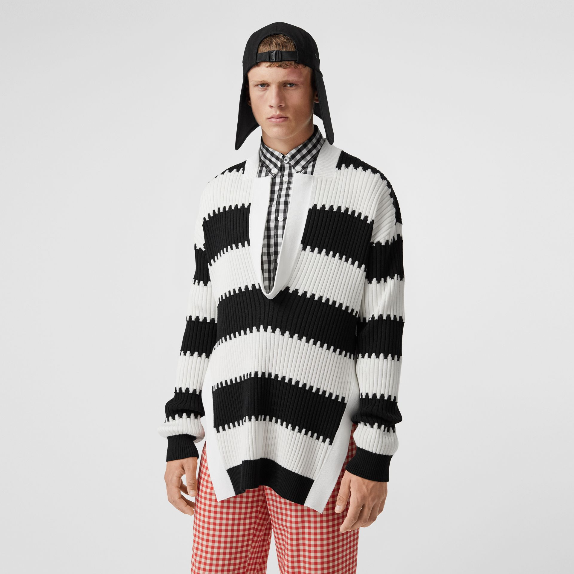 Side-slit Striped Rib Knit Wool Sweater in Black | Burberry - gallery image 0