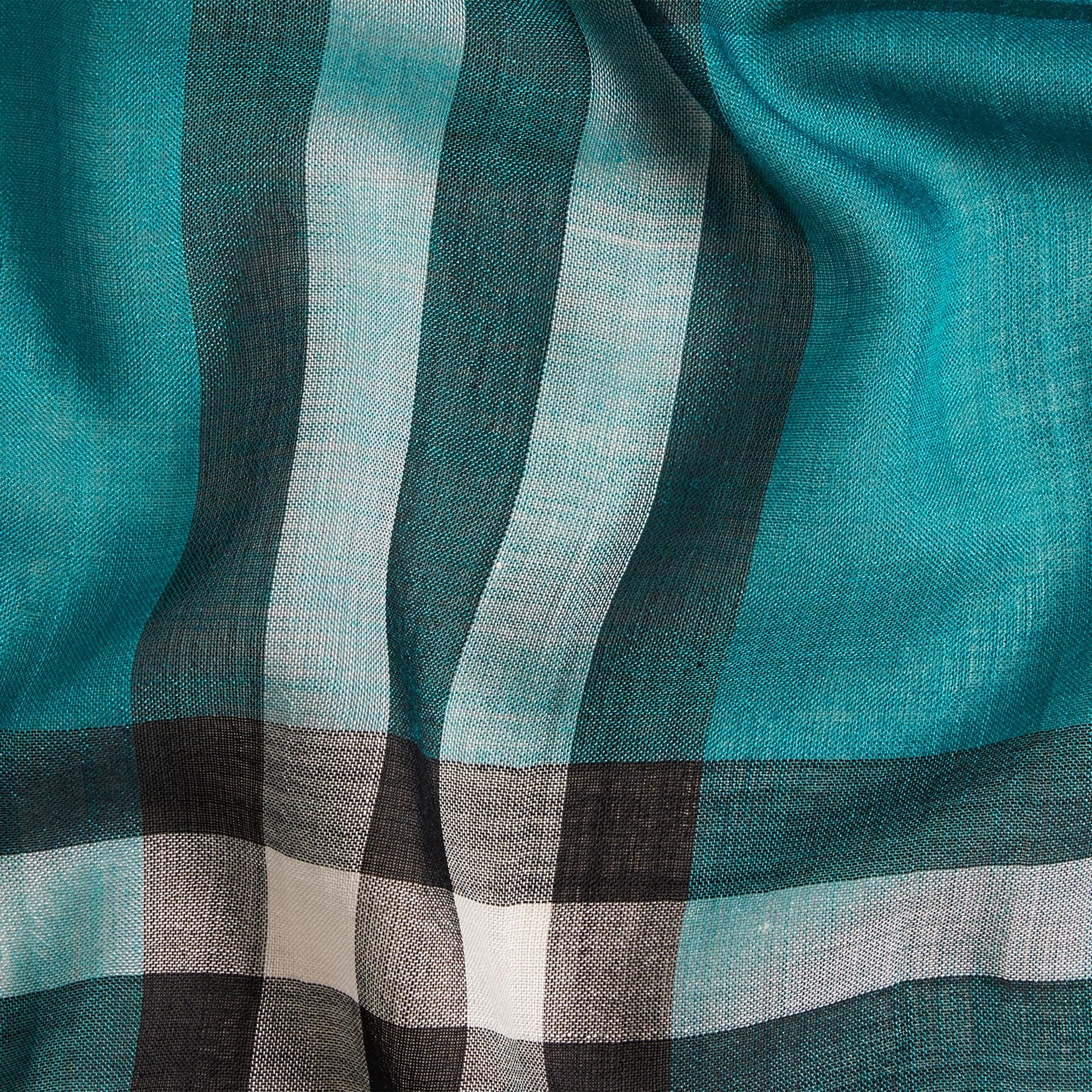 Dark aqua Lightweight Check Wool and Silk Scarf Dark Aqua - gallery image 2