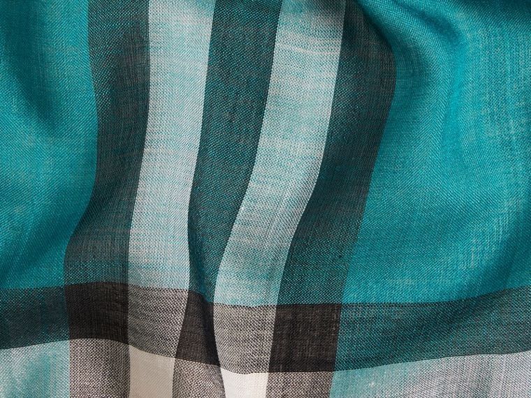 Dark aqua Lightweight Check Wool and Silk Scarf Dark Aqua - cell image 1