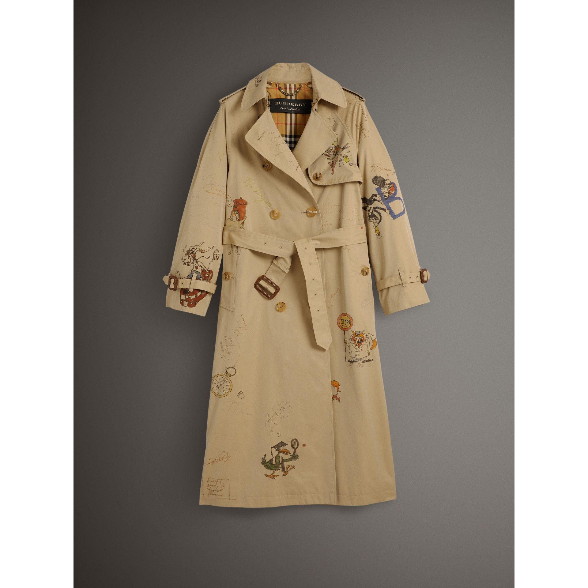 Sketch Print Tropical Gabardine Trench Coat in Honey - Women | Burberry - gallery image 3