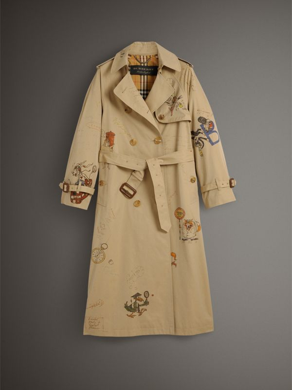 Sketch Print Tropical Gabardine Trench Coat in Honey - Women | Burberry - cell image 3