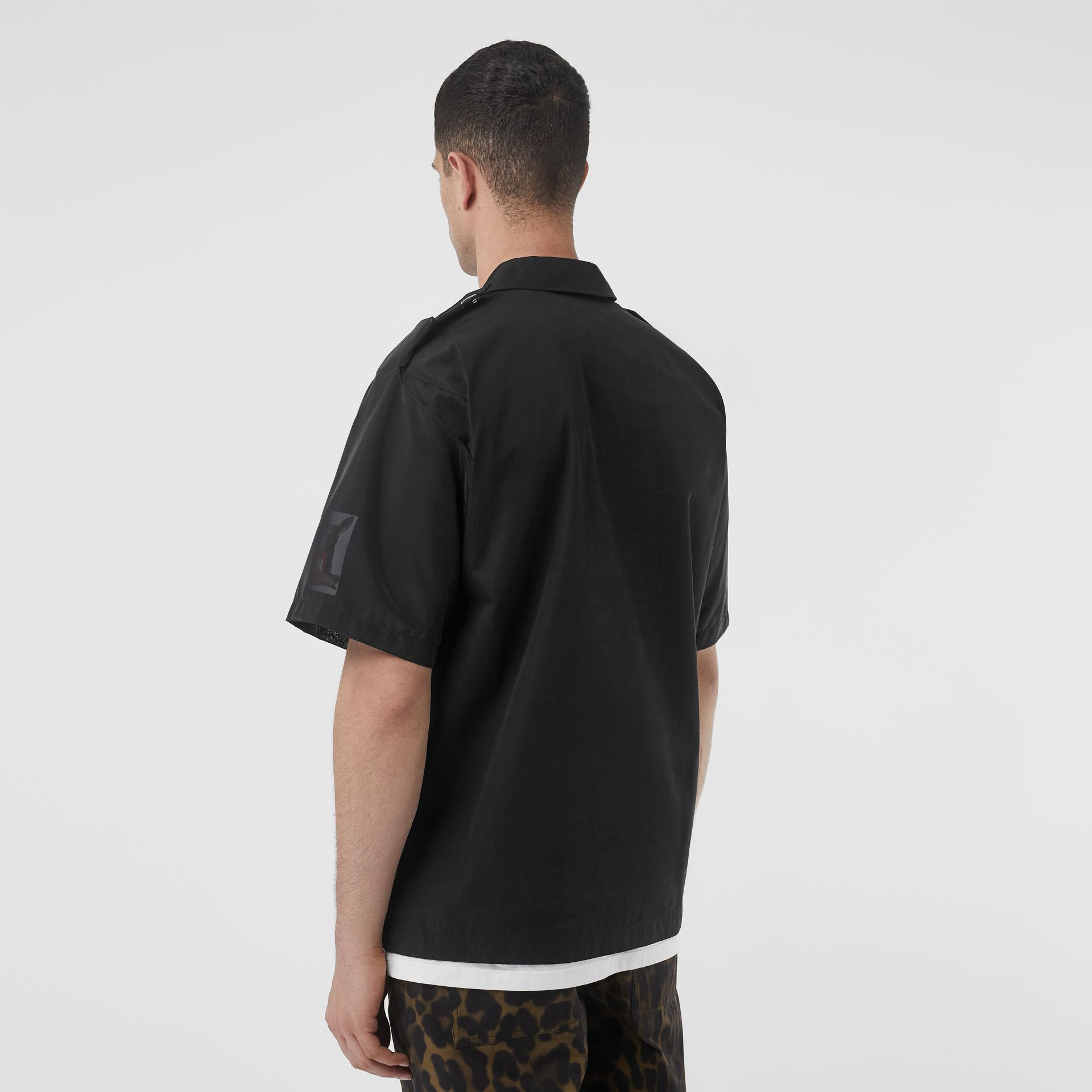 Short-sleeve Montage Print Cotton Shirt in Black - Men | Burberry Australia - gallery image 2