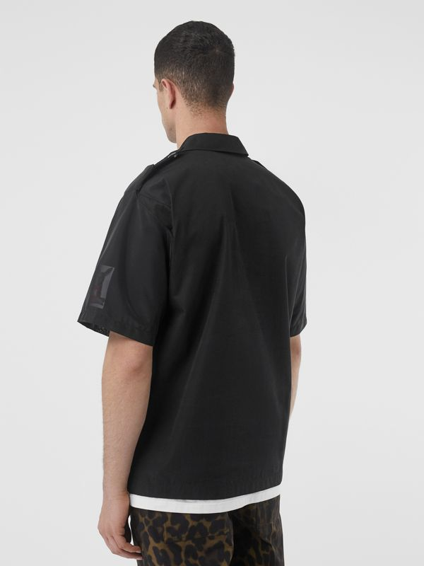 Short-sleeve Montage Print Cotton Shirt in Black - Men | Burberry - cell image 2