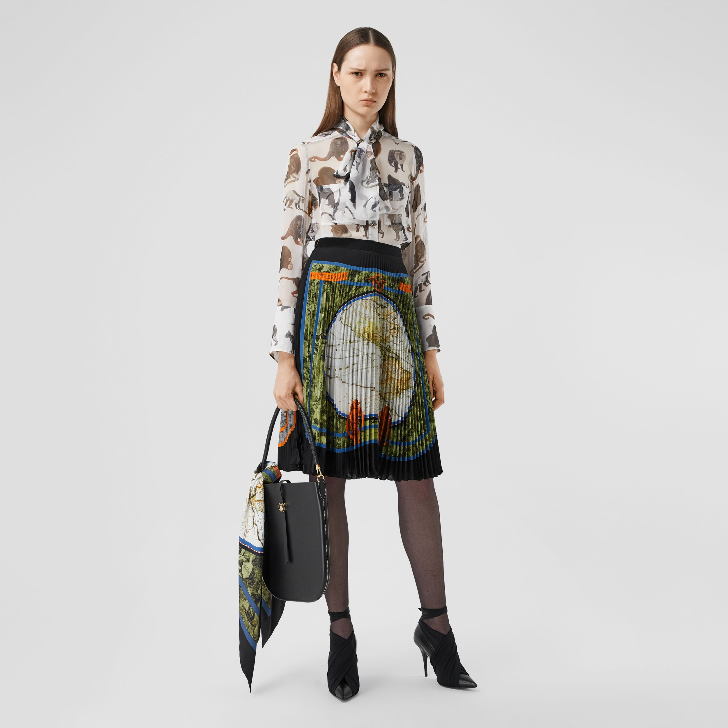 Map Print Silk-lined Pleated Skirt in Taupe Grey - Women | Burberry - 1